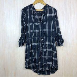 Lucky Brand Plaid Drawstring Waist Shirt Dress